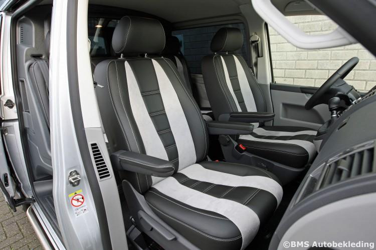 VW T5 BMS Autobekleding Zwart Nappa met Grijs Alcantara Ferrari 458 design (8)